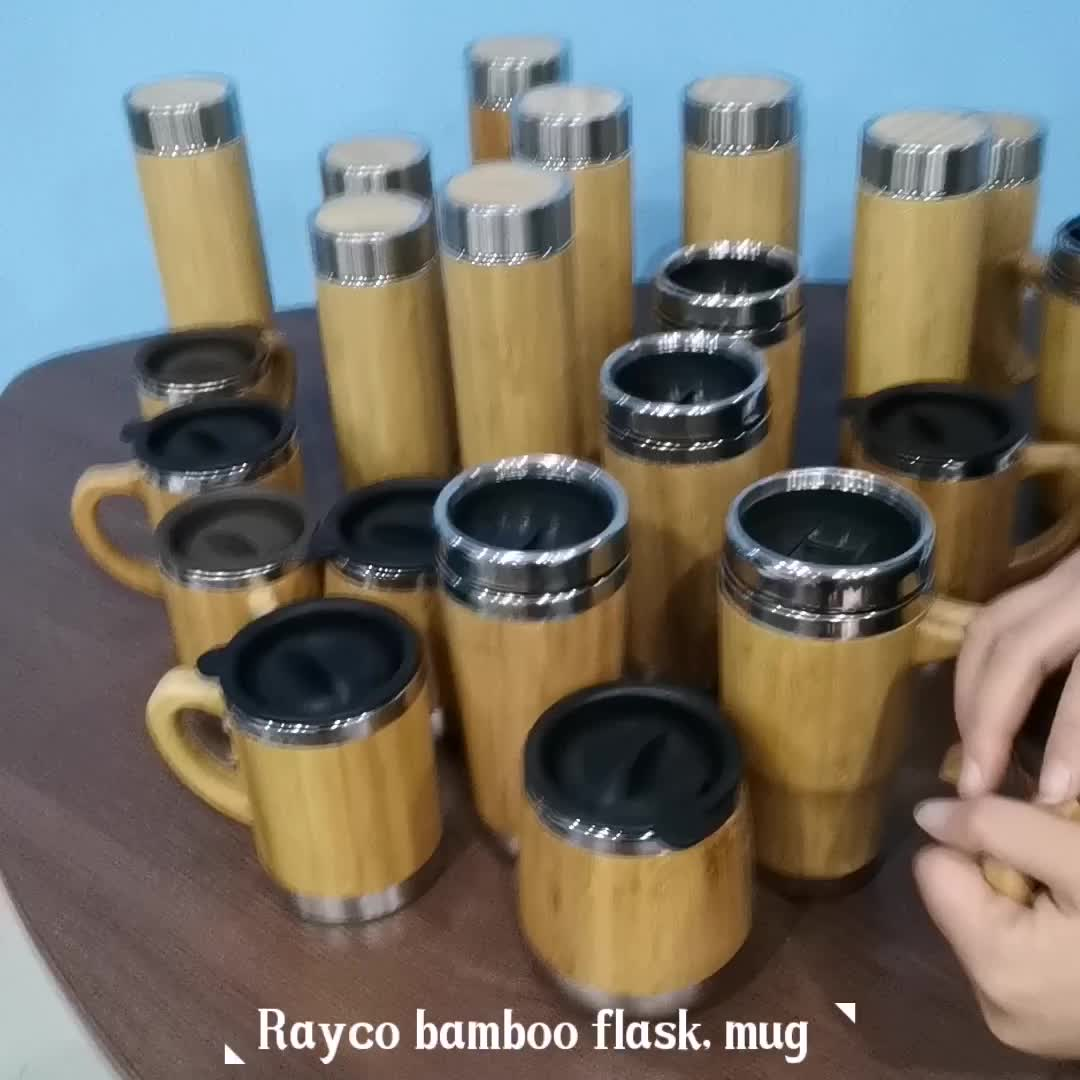 Wholesale Custom bamboo Stainless Steel thermos bottle