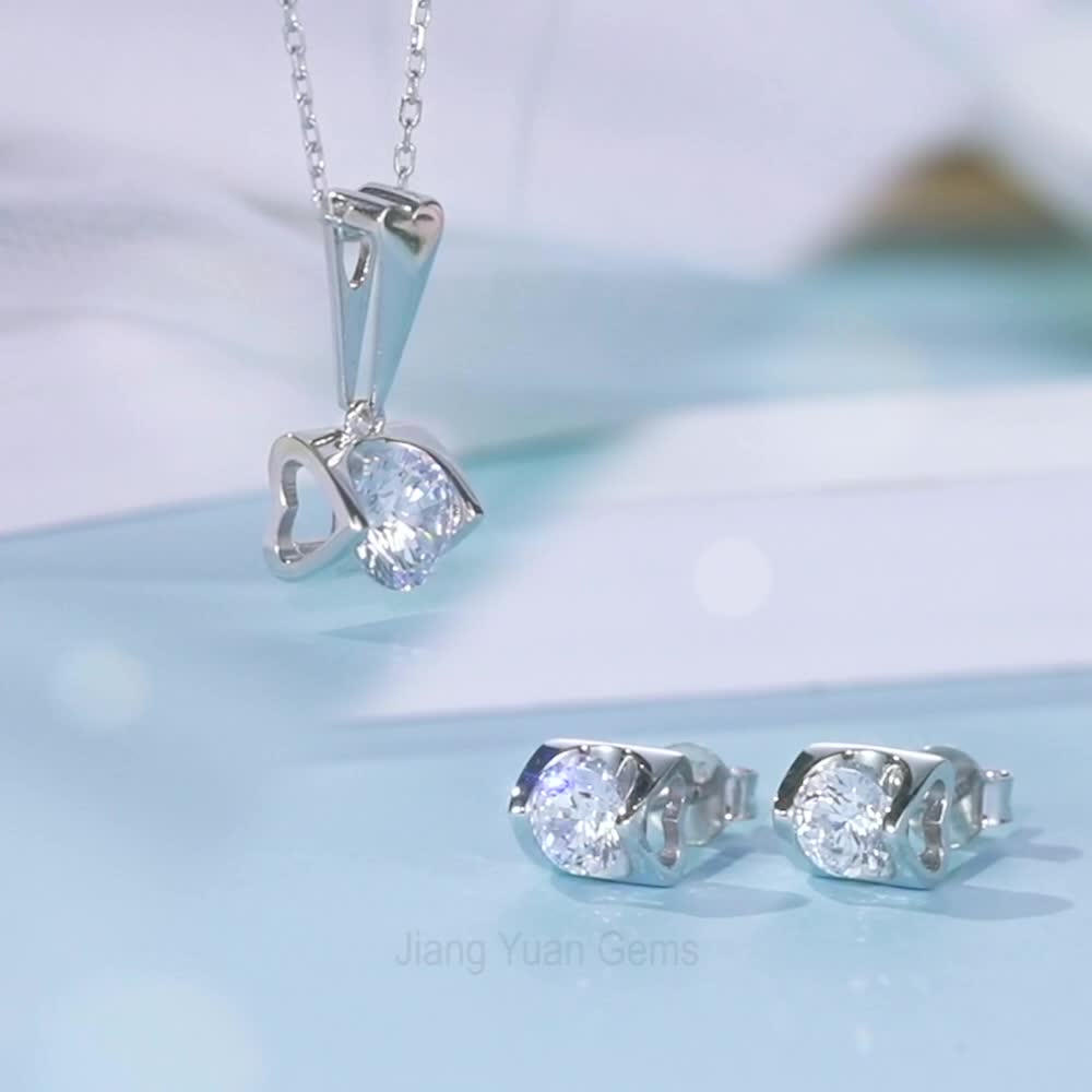 White Gold Plated Jewelry 1ct 6.5mm Moissanite Necklace And 0.5ct 5mm Moissanite Earrings Moissanite Jewelry Set
