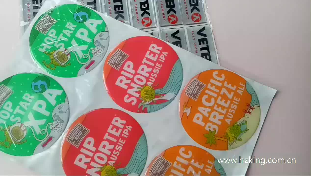 UV resistant ink printed strong adhesive resin dome label sticker