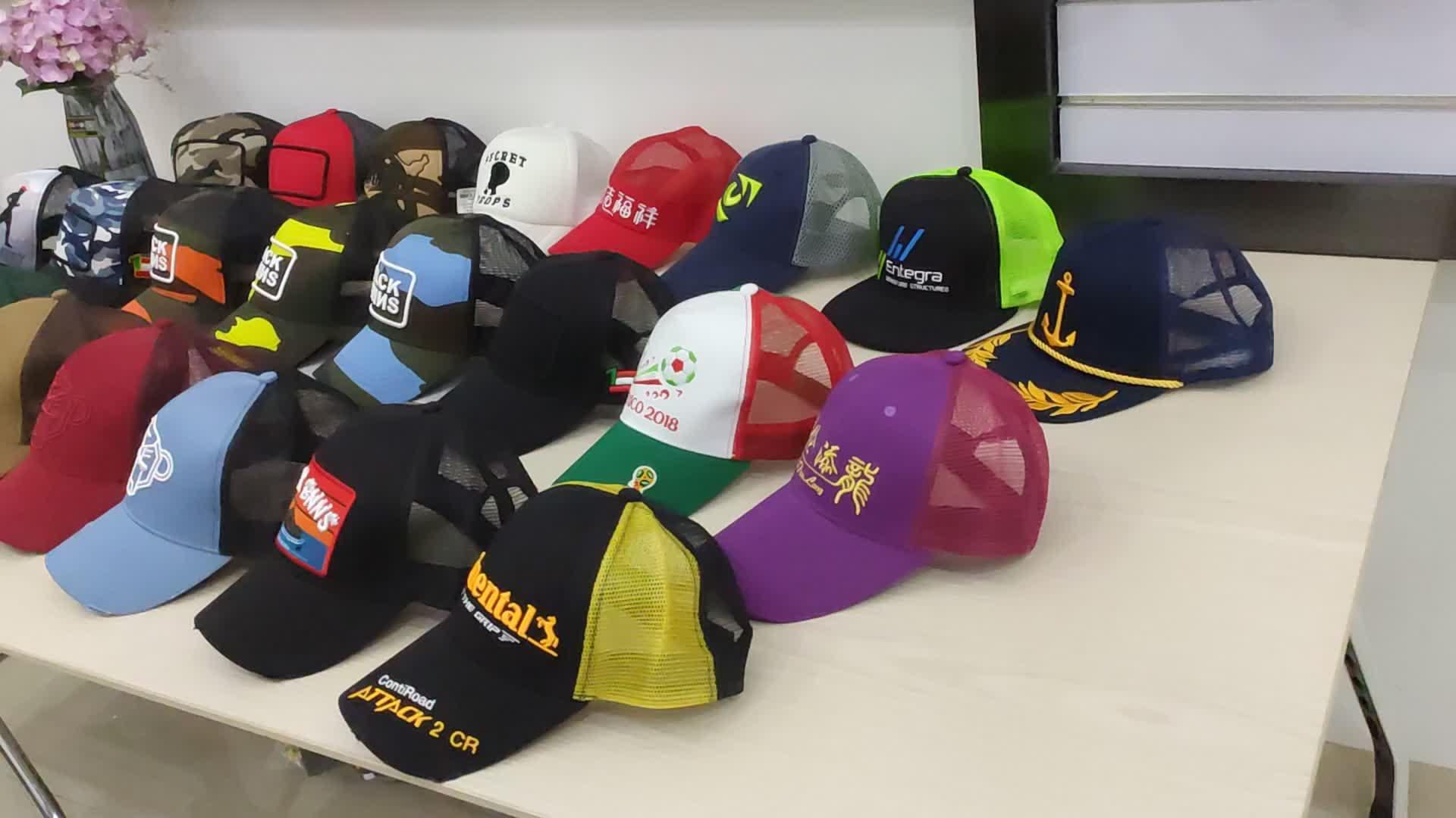 Groothandel Custom hoge kwaliteit 5 panel truck cap & 6 panel 3d borduren logo mesh trucker caps en hoeden accepteren paypal