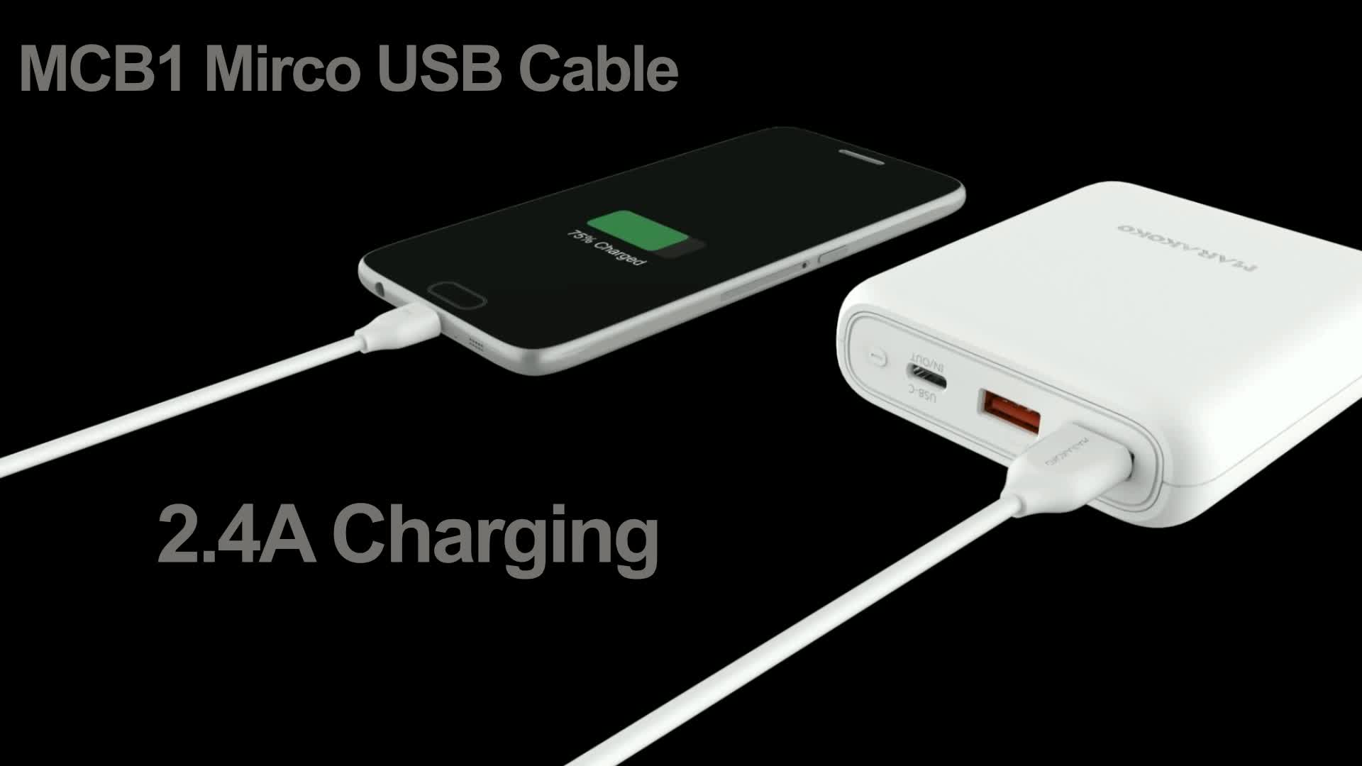 Marakoko MCB1 Micro USB 2.0 Cable 2m 6.6ft Android 2.4A Charging and Micro USB Data Cable
