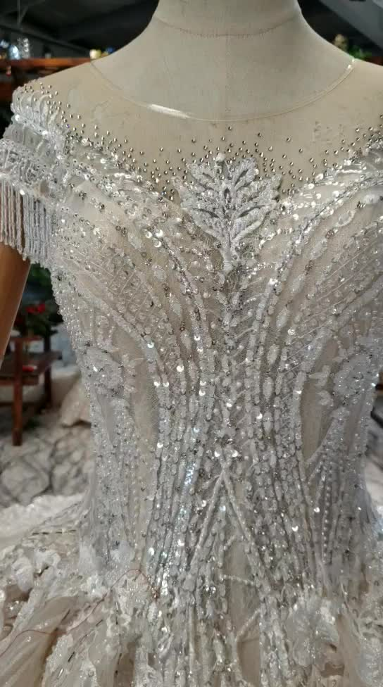 Jancember HTL777 2019 Luxury Lace Applique Ball Gown Wedding Dresses Applique Bridal Dresses In Stock