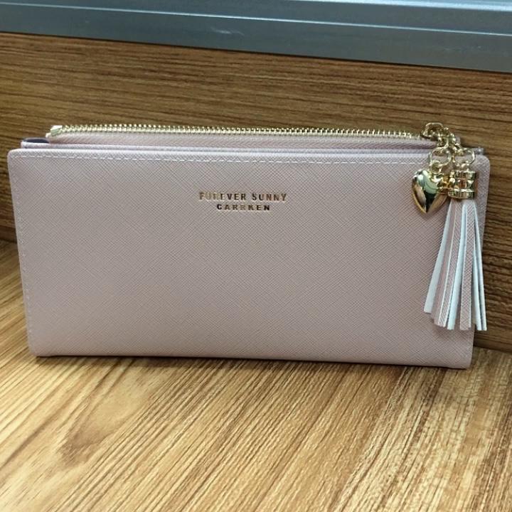 Kore versiyonu 2019 yeni tasarım kadın pu deri cüzdan toptan moda çapraz fringe fermuar çanta cüzdan