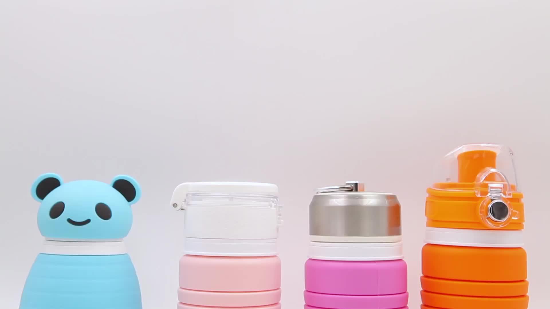 Nuovo Elemento In Silicone Pieghevole Bottiglia di Acqua Con Coperchi In Acciaio