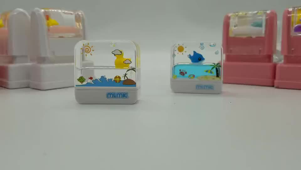 square float kids name stamp water world cartoon cute sweet fabric cloth clothing toy water stamp