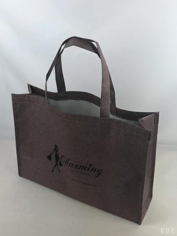 Custom logo printed reusable shopping non woven tote bag