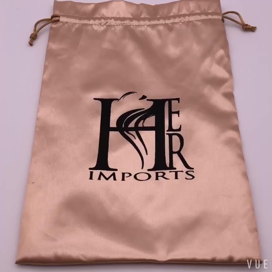 حقيبة تعبئة مخصصة للشعر من الساتان الذهبي
