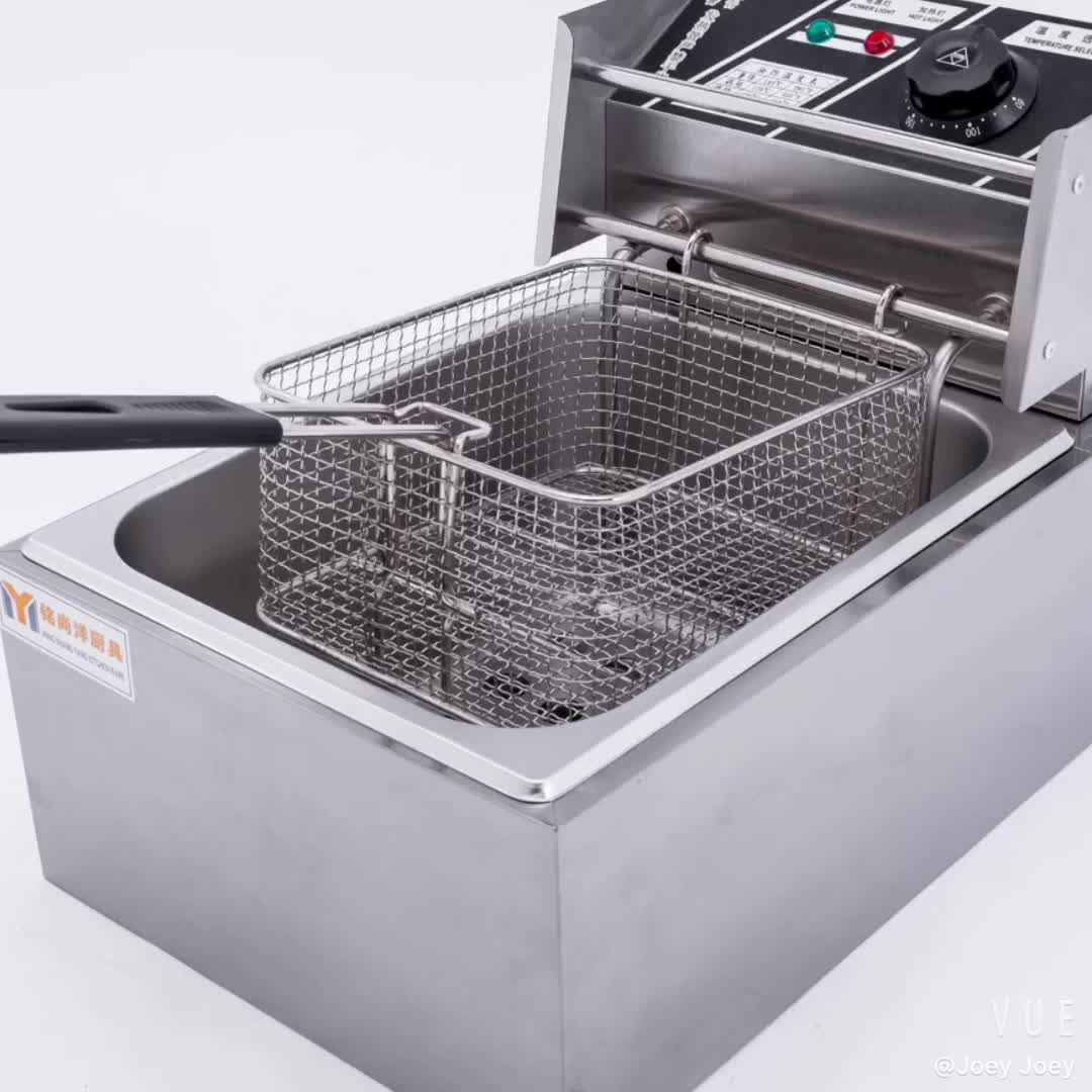 Amazon hot Elektrische Rvs Friteuse Grote Aanrecht Frieten gebruik voor Restaurant Home Keuken