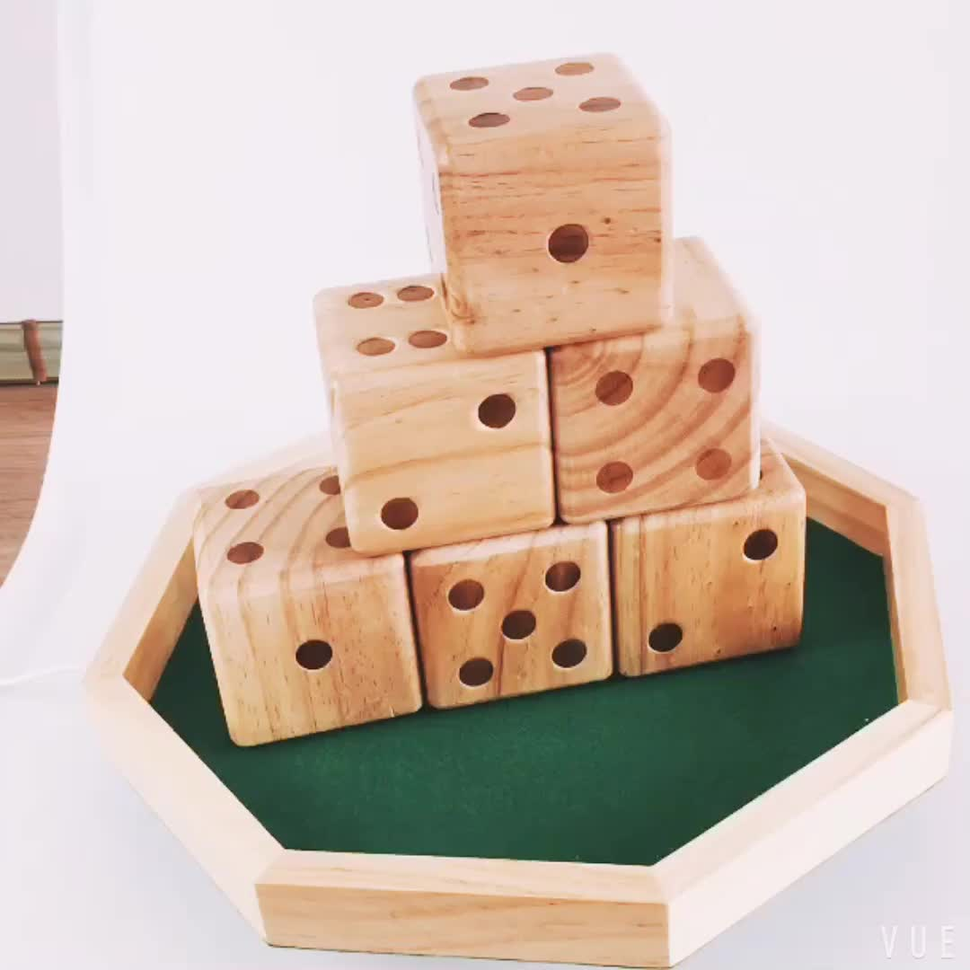 6 pieces large solid pine wood dice with carrying bag for children outdoor games