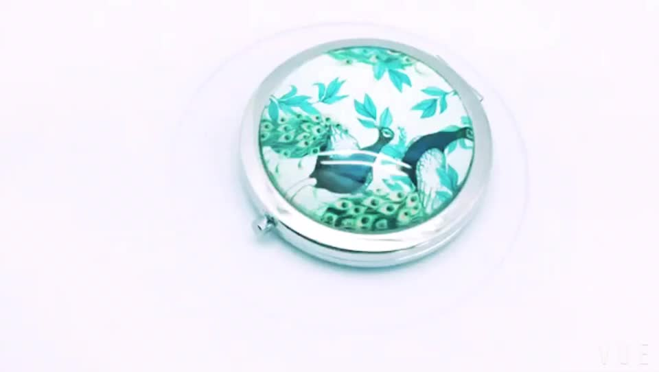 Wholesale new arrival dia 7cm round metal compact mirror for promotion gift, mirror glass