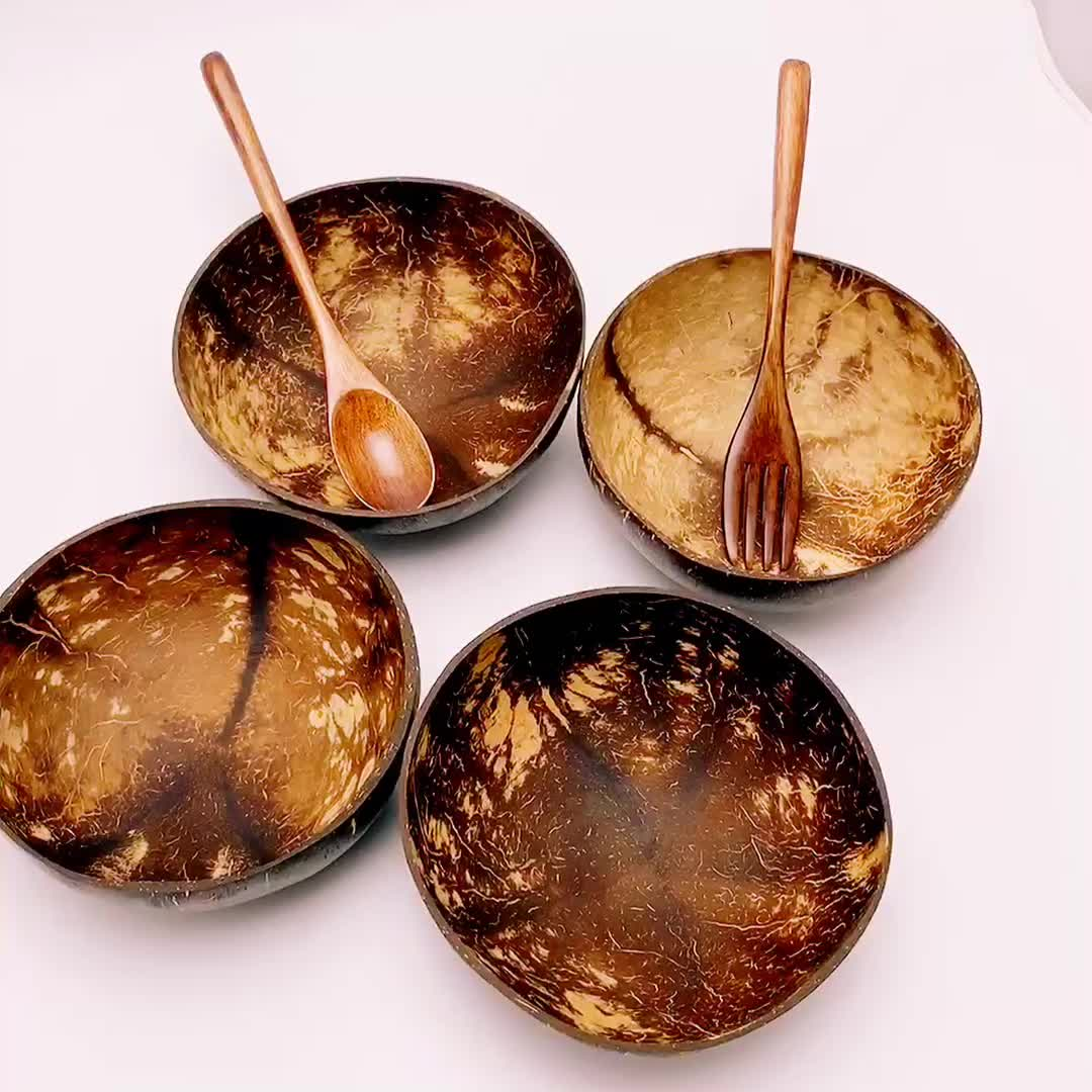 Wholesale vietnam spoon fork wood cutlery gift eco-friendly coconut wood set coconut bowl shell