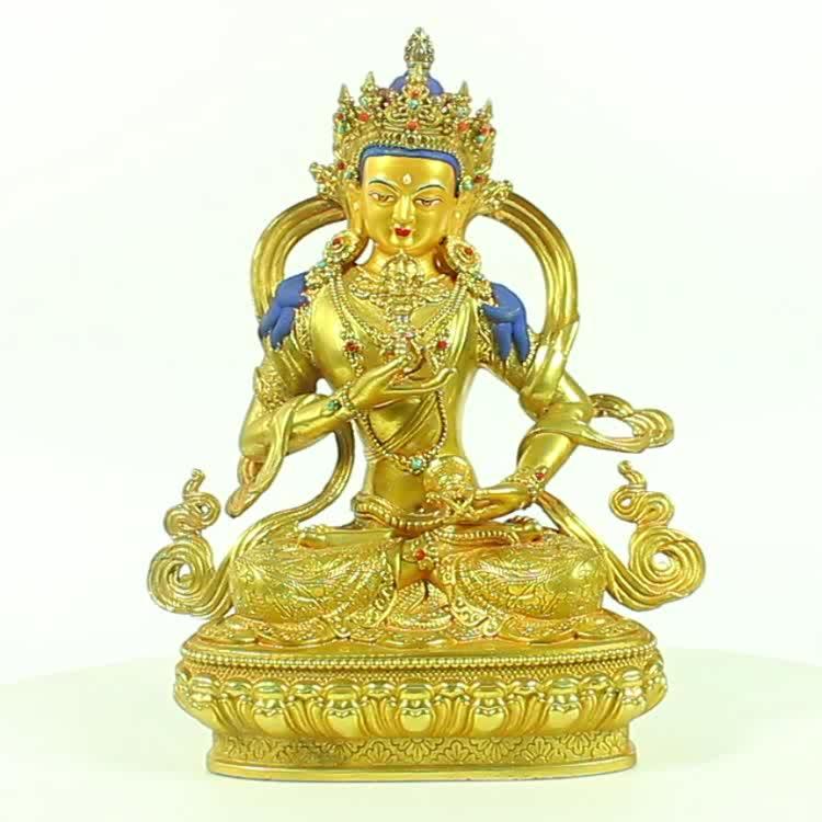 Factory Casting Golden Vajrasattva Copper Buddha Statue Art Collectible Small Buddha Brass Sculpture