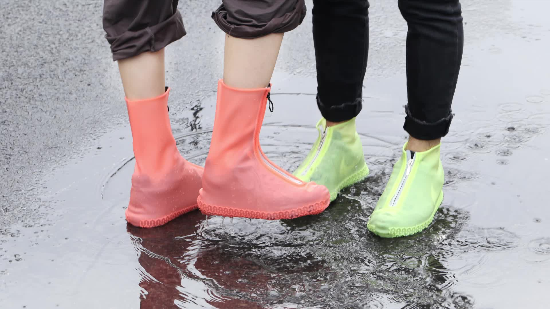 Non Slip Custom Print Cheap Silicone Rubber Waterproof Reusable Shoe Cover Rain Boot Cover