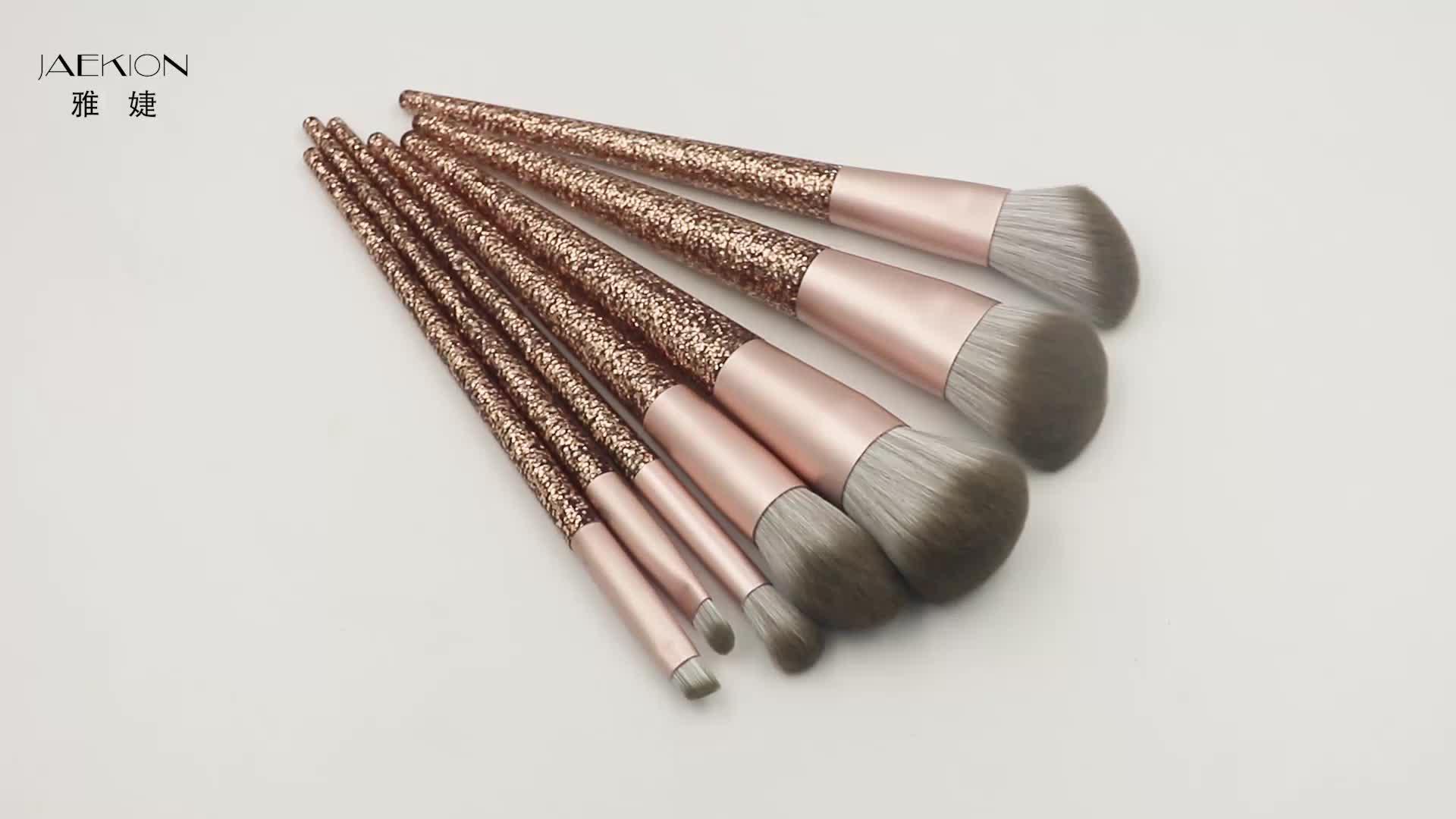Nuovo Design di Alta Qualità Private Label Professionale 7 pcs Glitter Oro Maniglia di Bellezza Morbido Cosmetici Spazzola di Trucco Portatile Set