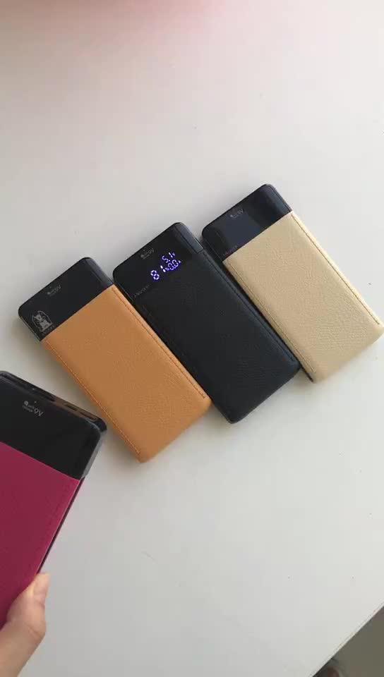 Luxury Leather Large Capacity LCD Display 10000mAh Quick Charge 3.0 Portable Charger Power Bank