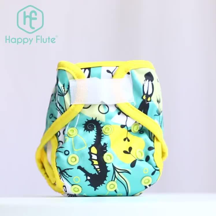 Happyflute नवजात प्रिंट पुल डिजाइन हुक और पाश बंद होने धो बेबी डायपर कवर