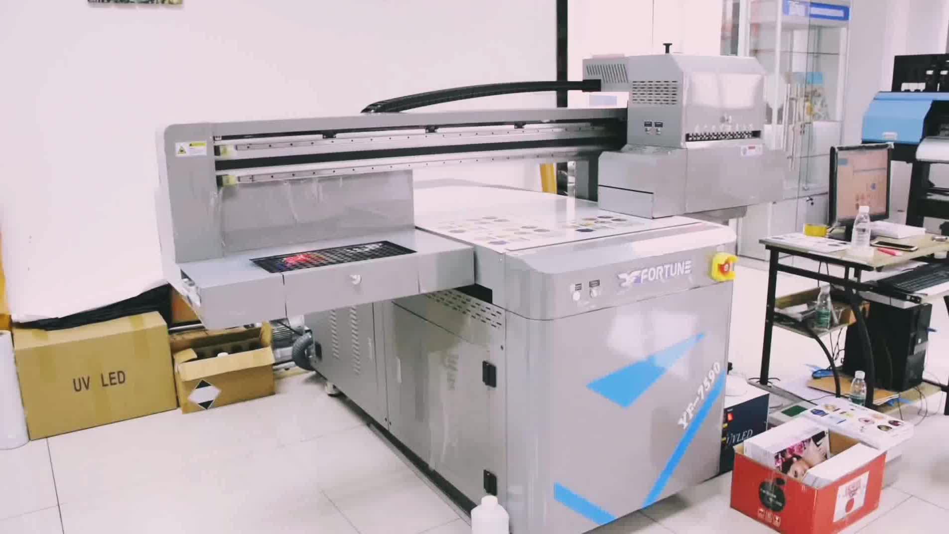 Fortuin uv lak printer met Toshiba printkop 7590 uv flatbed printer