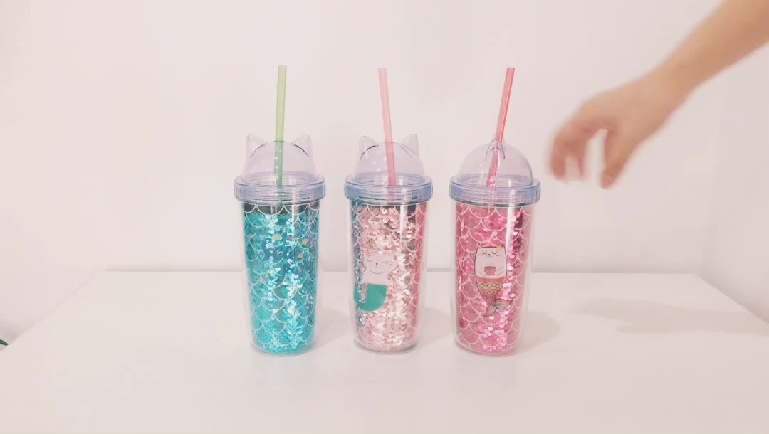 Promotion wholesale products custom clear reusable drinking double wall glitter plastic water drinking cup with straw lids