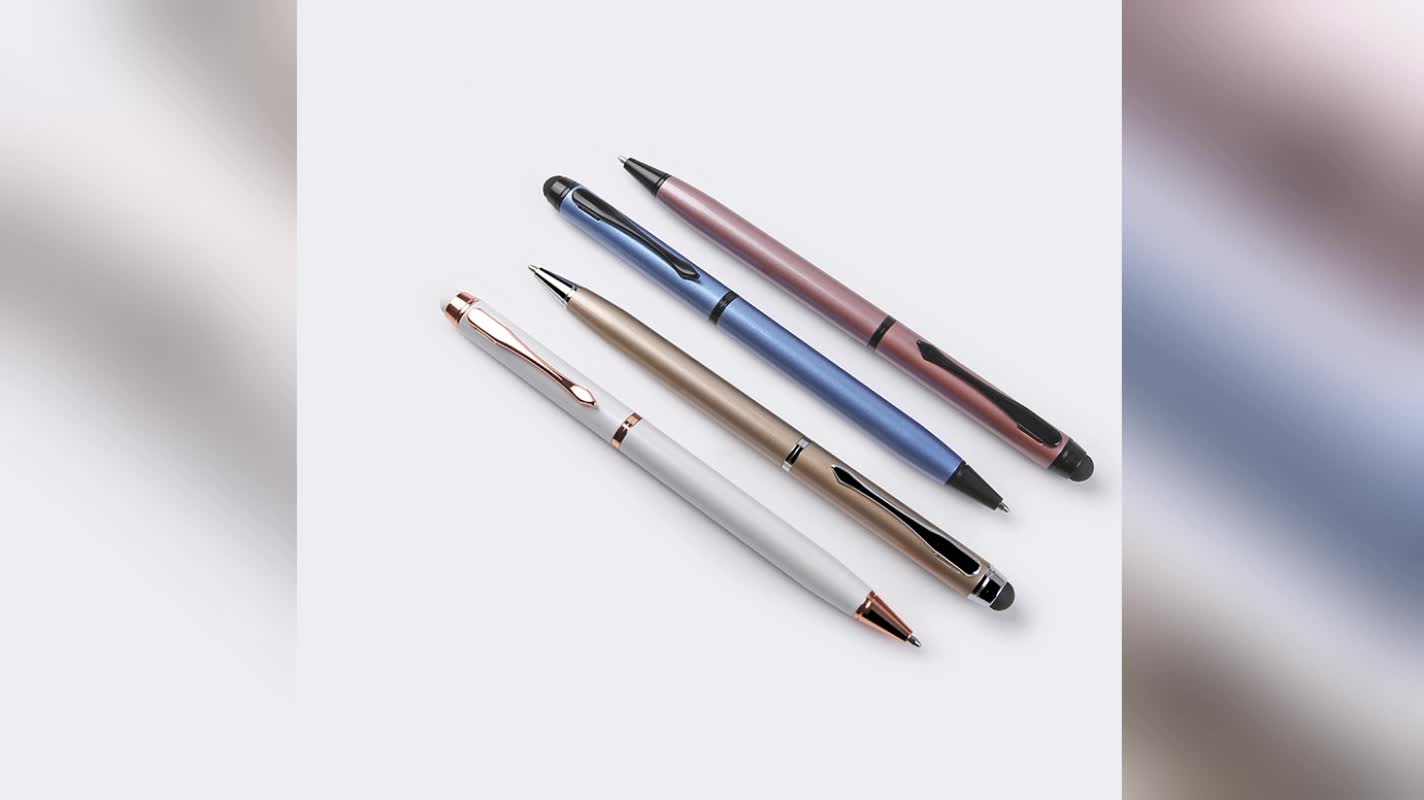 Office & School gift metal pen with touch stylus twist custom pen with logo
