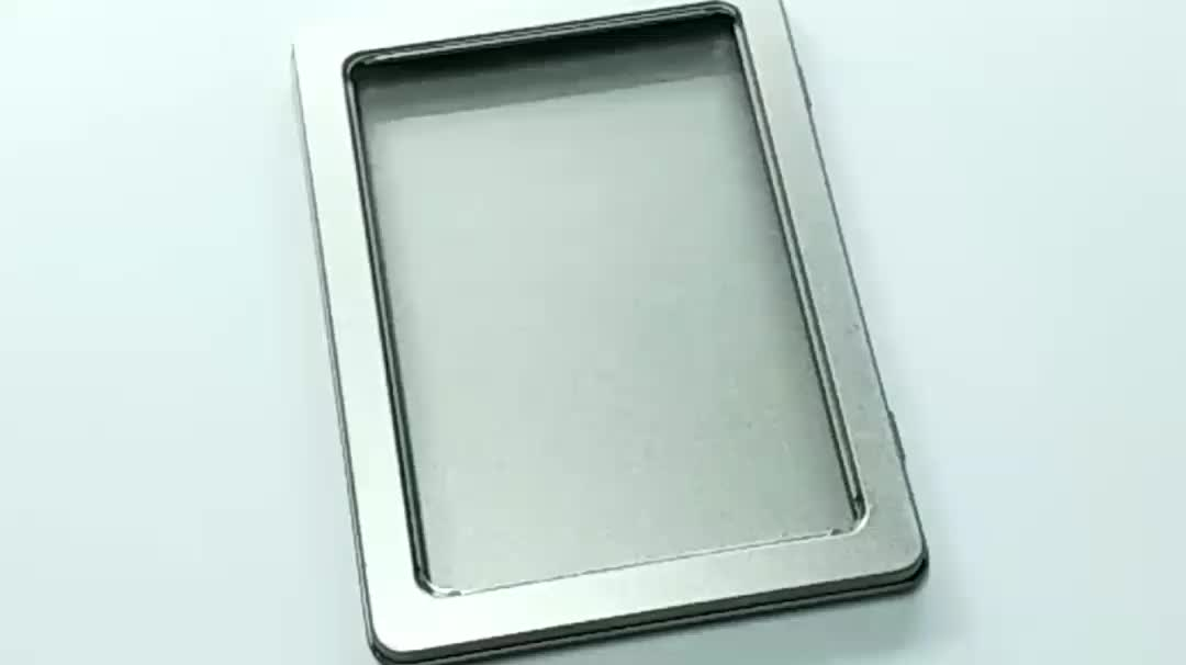 plain rectangular metal A6 tin box with window