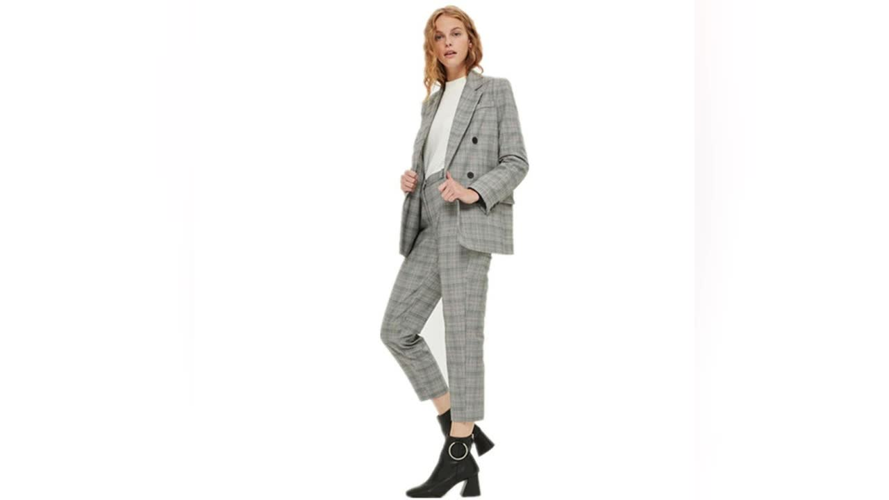buying now discount details for Sy -y1700041 Women Check Tapered Leg Cotton Grey Trousers Suit - Buy  Tapered Leg Cotton Trousers,Ladies Trouser Suit,Women Elegant Grey Suit  Trousers ...