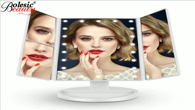 Tri-Fold Lighted Vanity Makeup Mirror with 16 LED Lights Touch Screen and 3X 2X 1X Magnification Mirror Travel Cosmetic Mirror