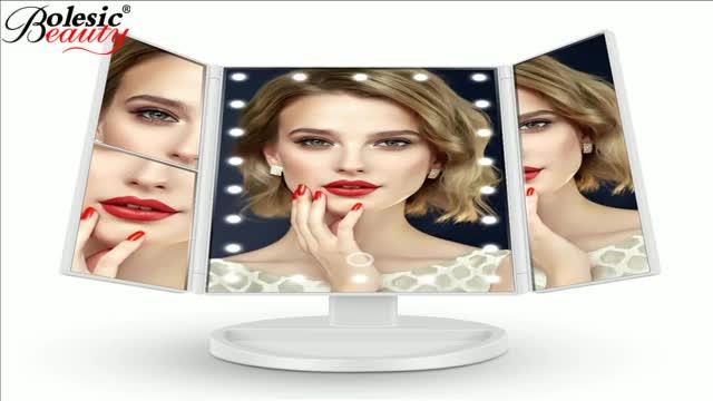 Desktop foldable makeup mirror with LED lights and sensor Travel Makeup Mirror Lighted LED Mirror