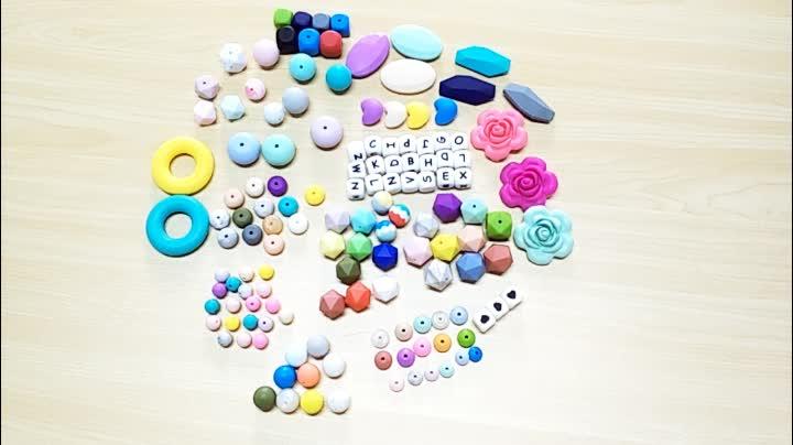도매 Custom Single Letter Alphabet Beads, 실리콘 Baby 문자발송 & # Beads