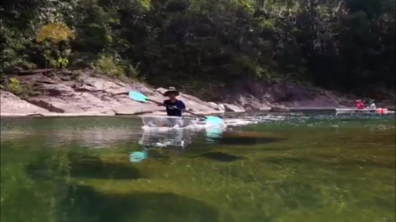 Durable 2 Person PC Polycarbonate Transparent Clear Kayak Boat with Aluminum frame for Water Games