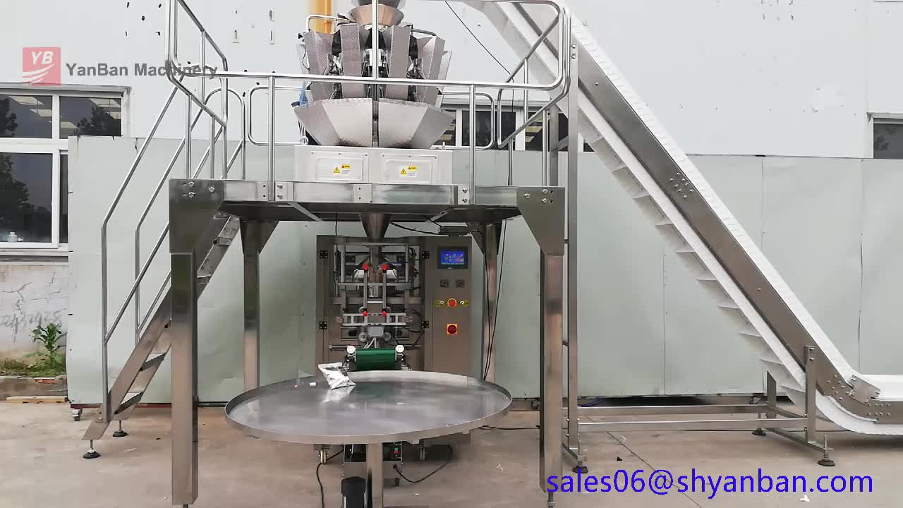 Automatic 2kg grains packing machine YB-420Z Vertical granule packing machine  With 10 Head multhead auto Weigher Snack packing