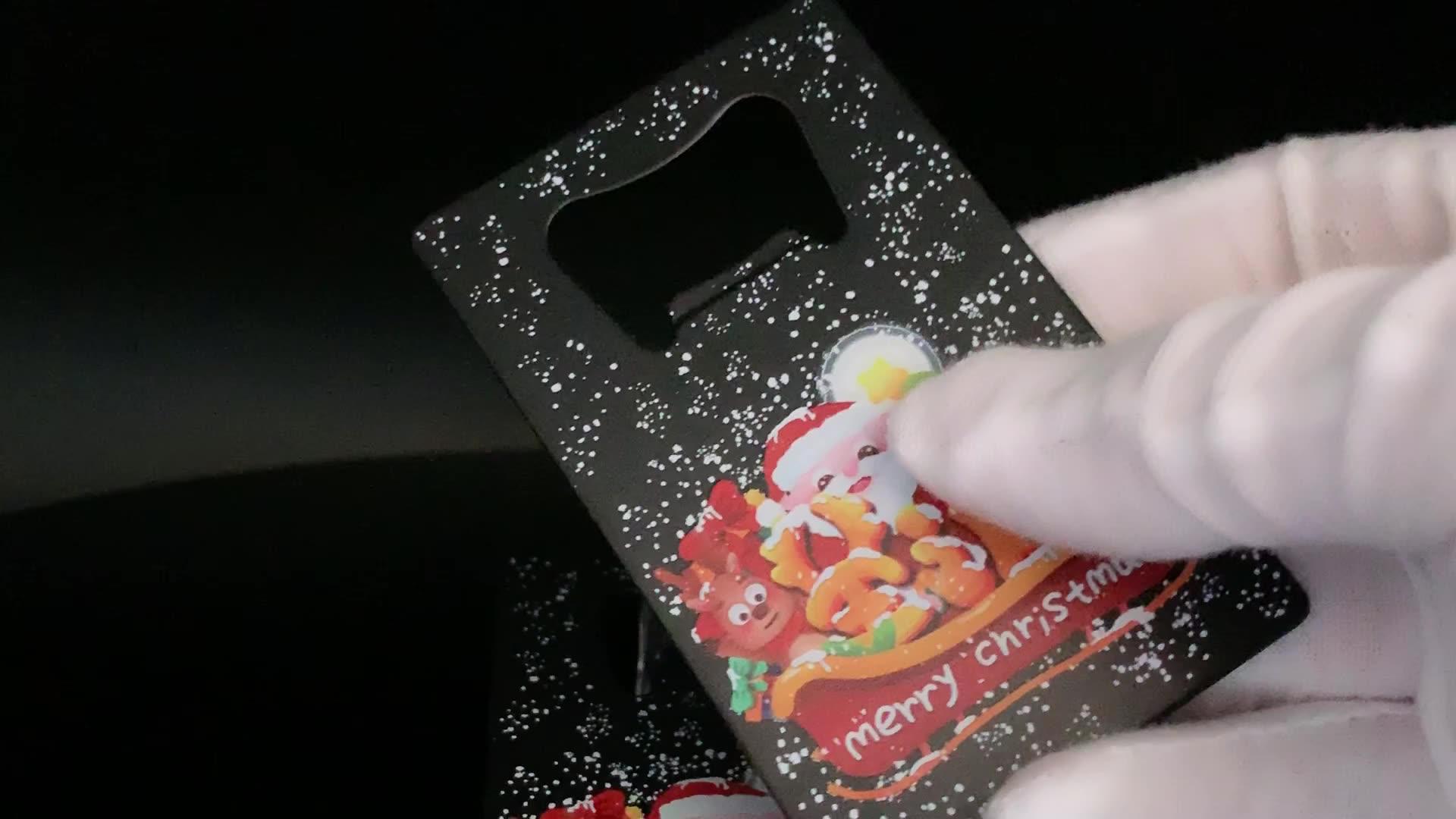 hot selling stainless steel rectangle bottle opener  christmas logo print on gifts beer opener
