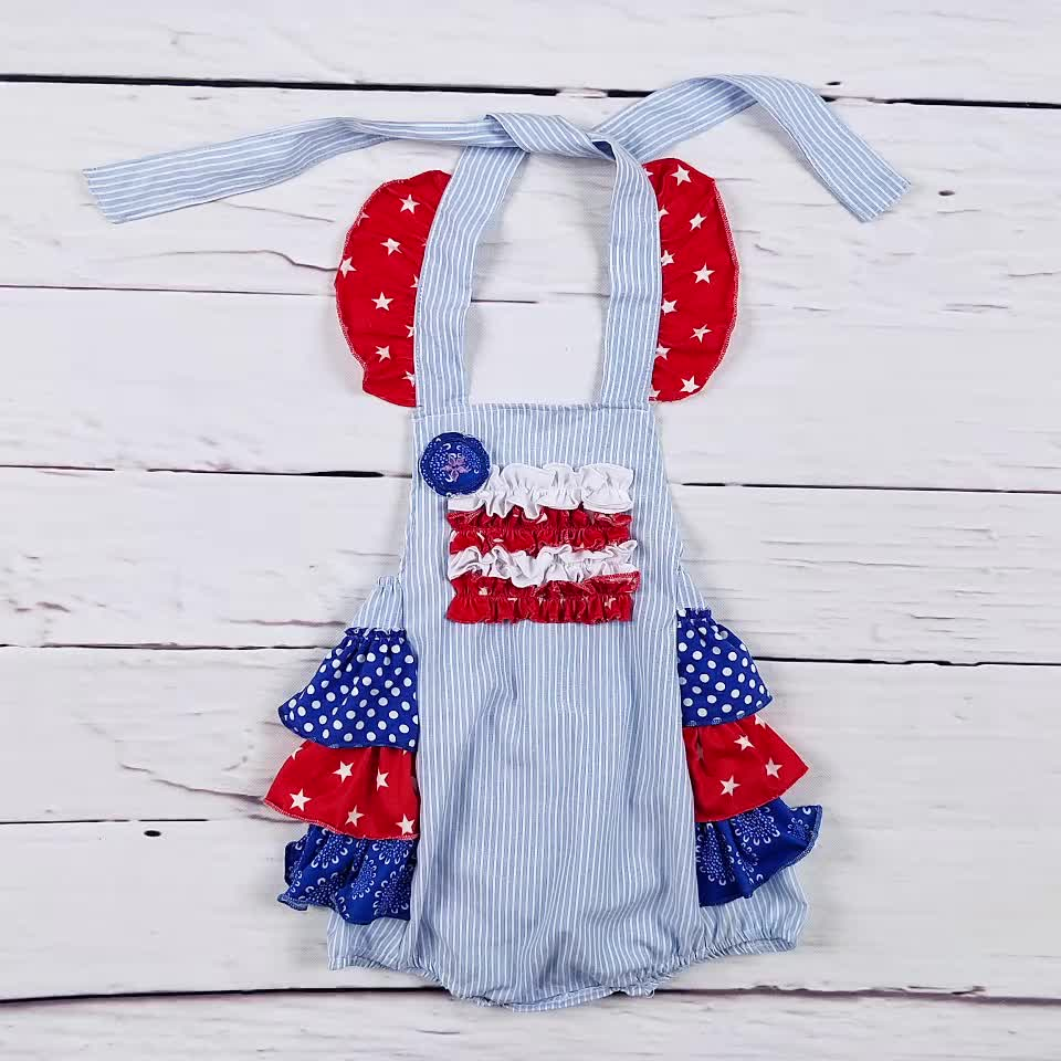 2018 new wholesale 4th of july baby rompers