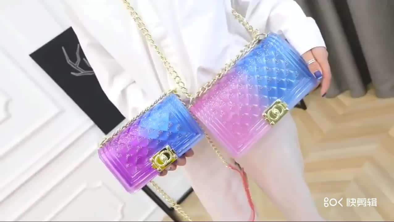 Hot sale 2019 new  transparent jelly bag shoulder messenger bag Korean ladies PVC colorful handbags wholesale