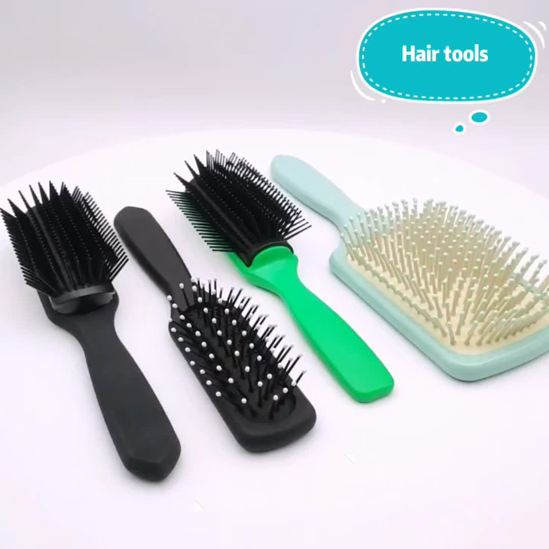 High quality 9 row customizable salon hair brush professional in green