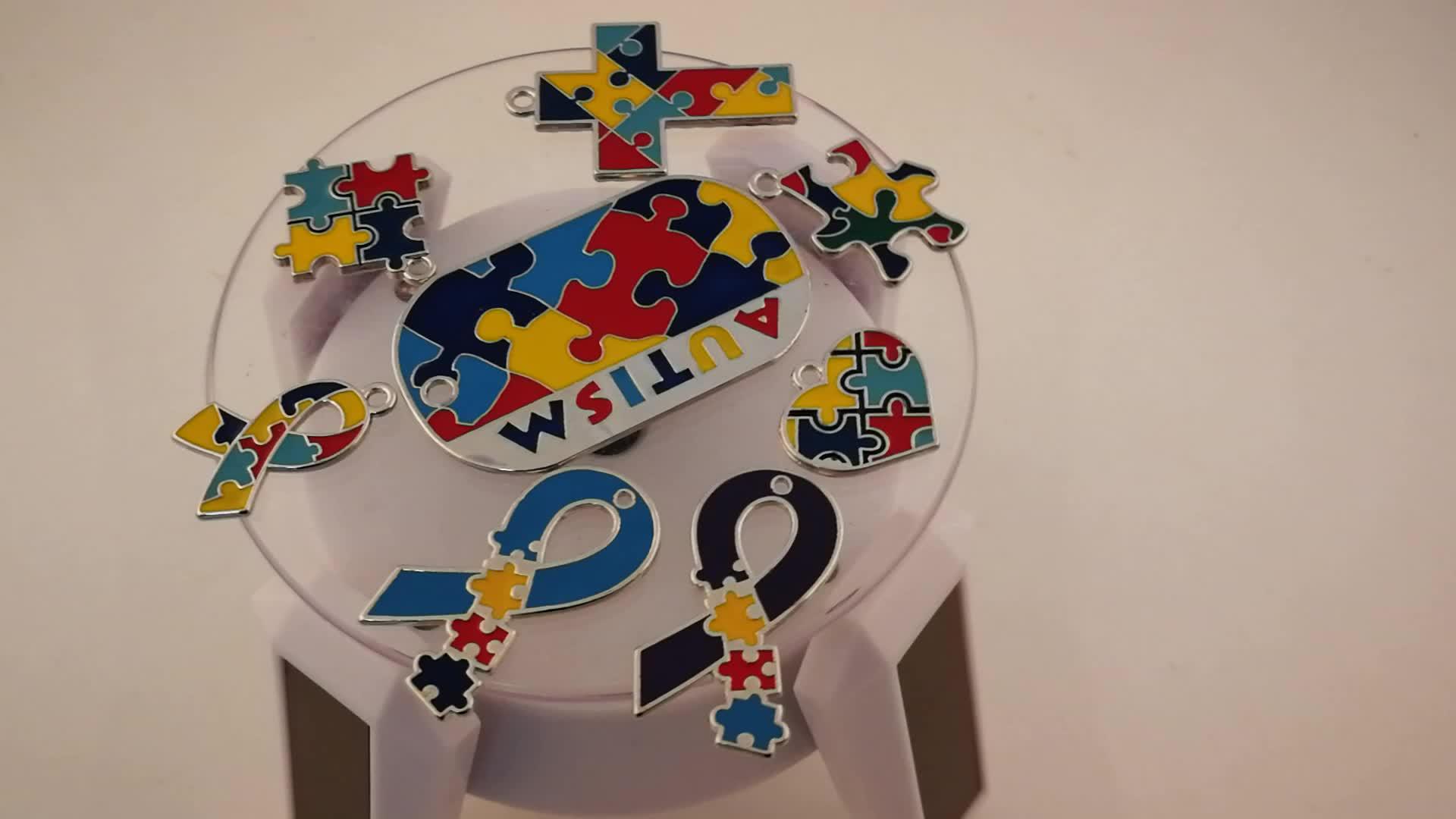 Wholesale puzzle piece enamel autism awareness ladies stue designs earrings