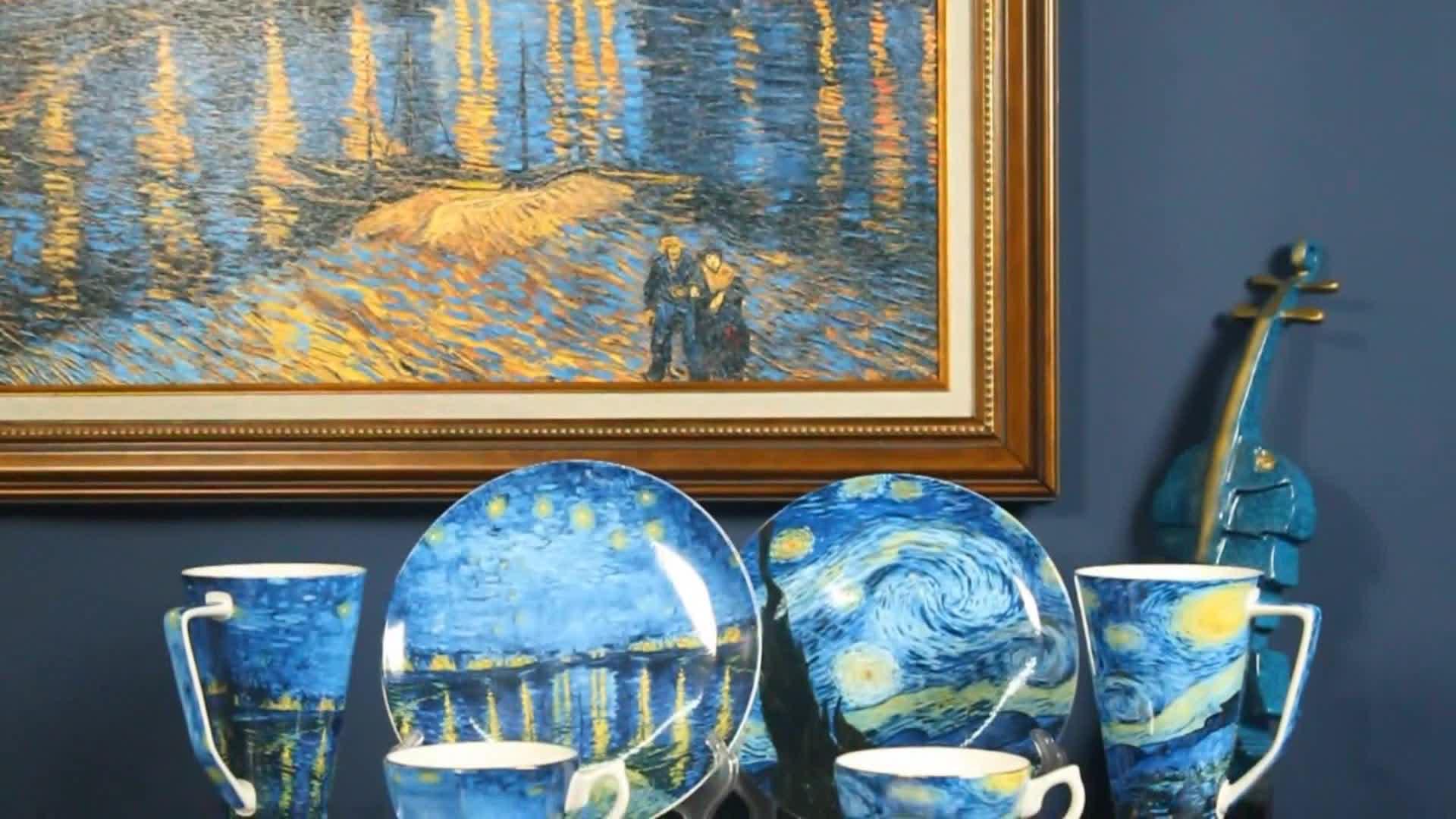 Van gogh peinture populaire fine porcelaine café tasse et soucoupe ensemble