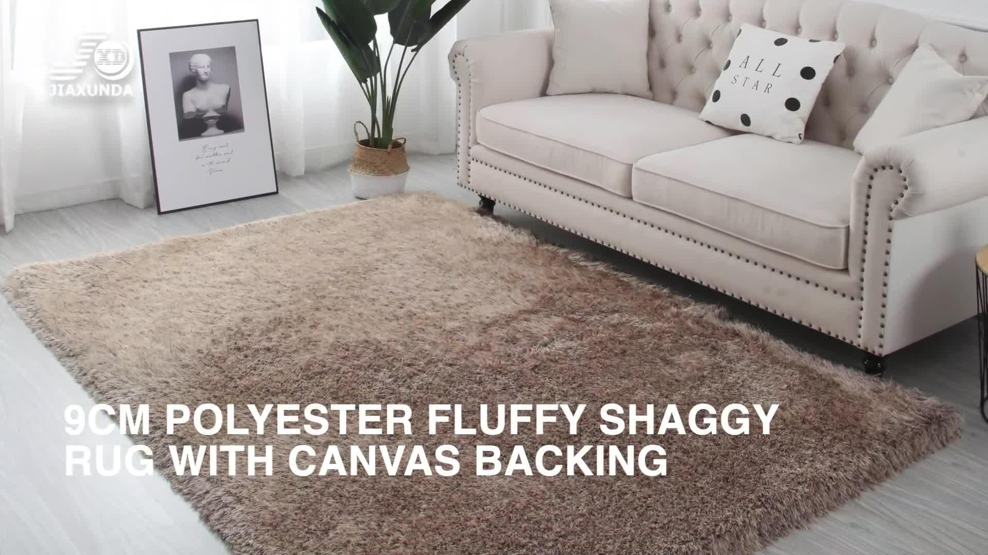 100% Polyester personnalisé moderne tianjin 9cm pile vison plaine moelleux zone shaggy tapis tapis pour salon