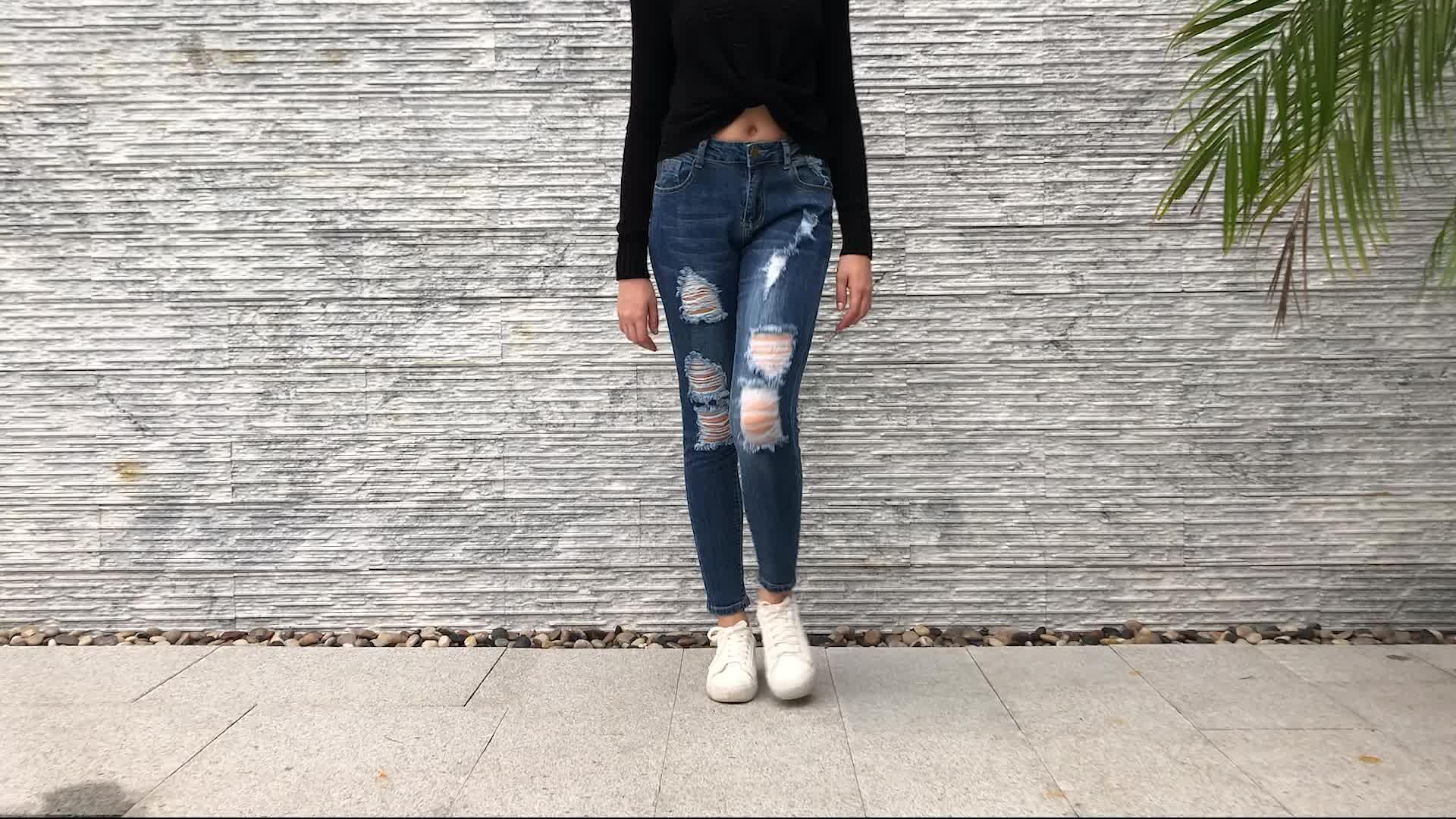 Cheap Wholesale Women Sexy High Waist Denim Ripped Skinny Jeans