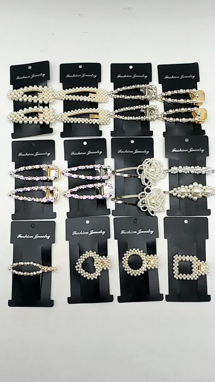 Lower MOQ hair accessories girls pearls and crystal snap big hair clips