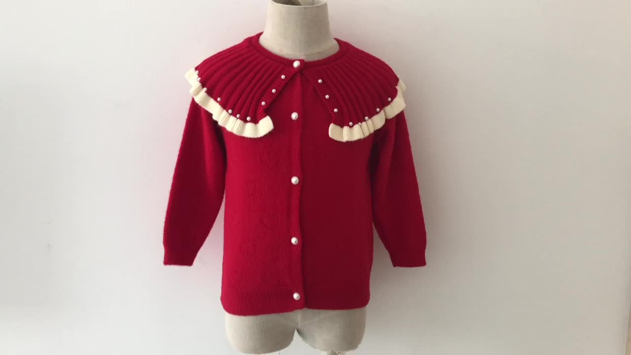 2019 latest products baby girls cardigans lovely pearl cotton sweet clothes knitted with lowest price