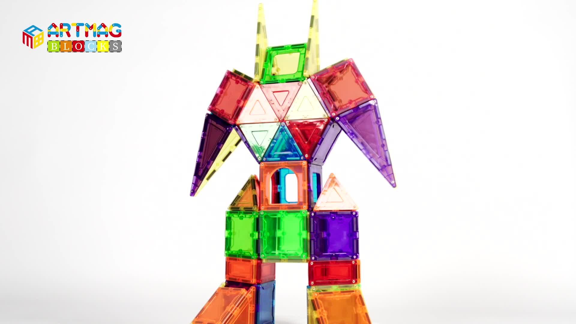 Mıknatıslı Oyuncaklar Çocuklar 3D manyetik bloklar Okul Öncesi Yapı Setleri Eğitici Oyuncaklar Toddlers için Erkek ve Kız Manyetik Fayans