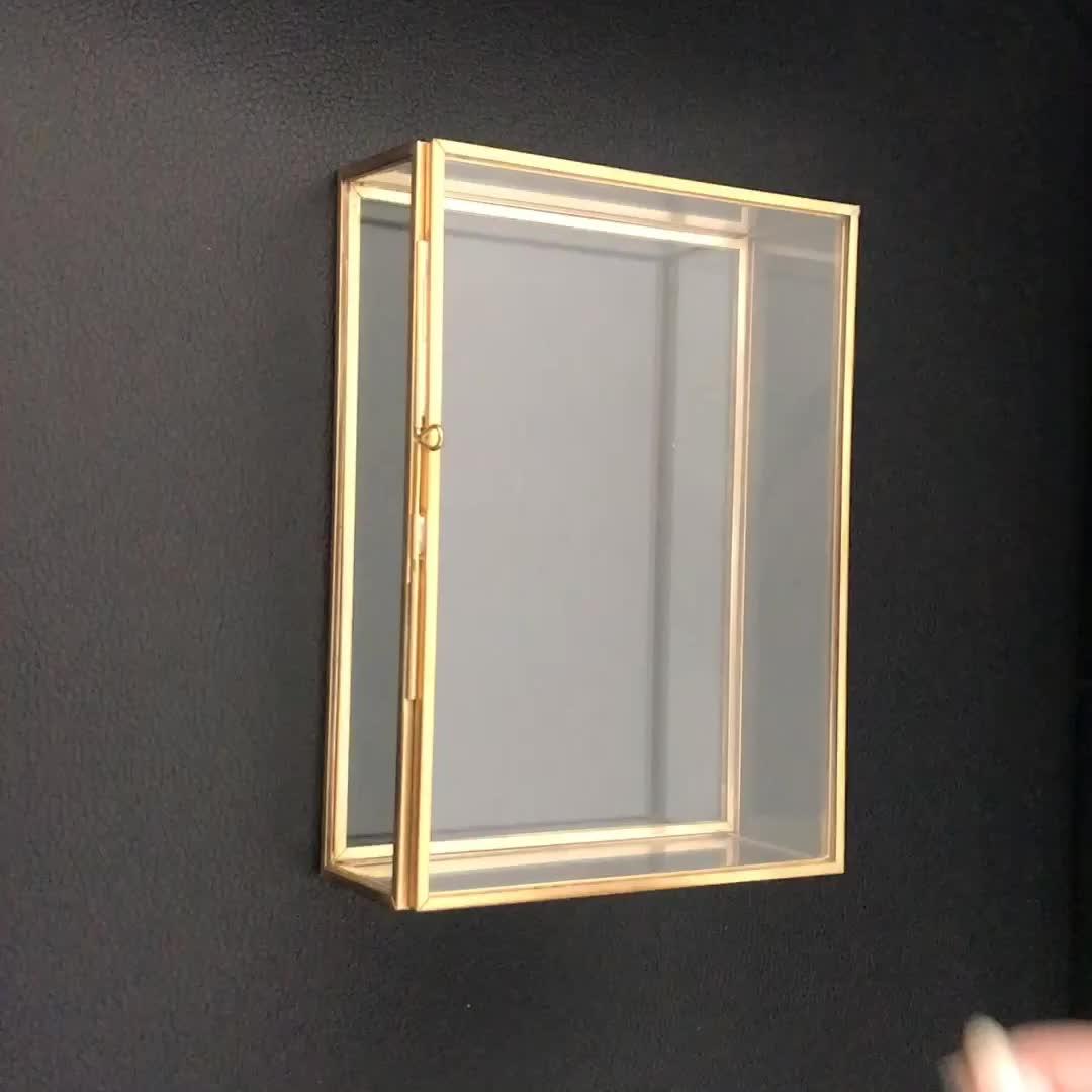 סיטונאי אריזת תכשיטי קופסות מתכת סיים תכשיטי זהב זכוכית אחסון תיבה