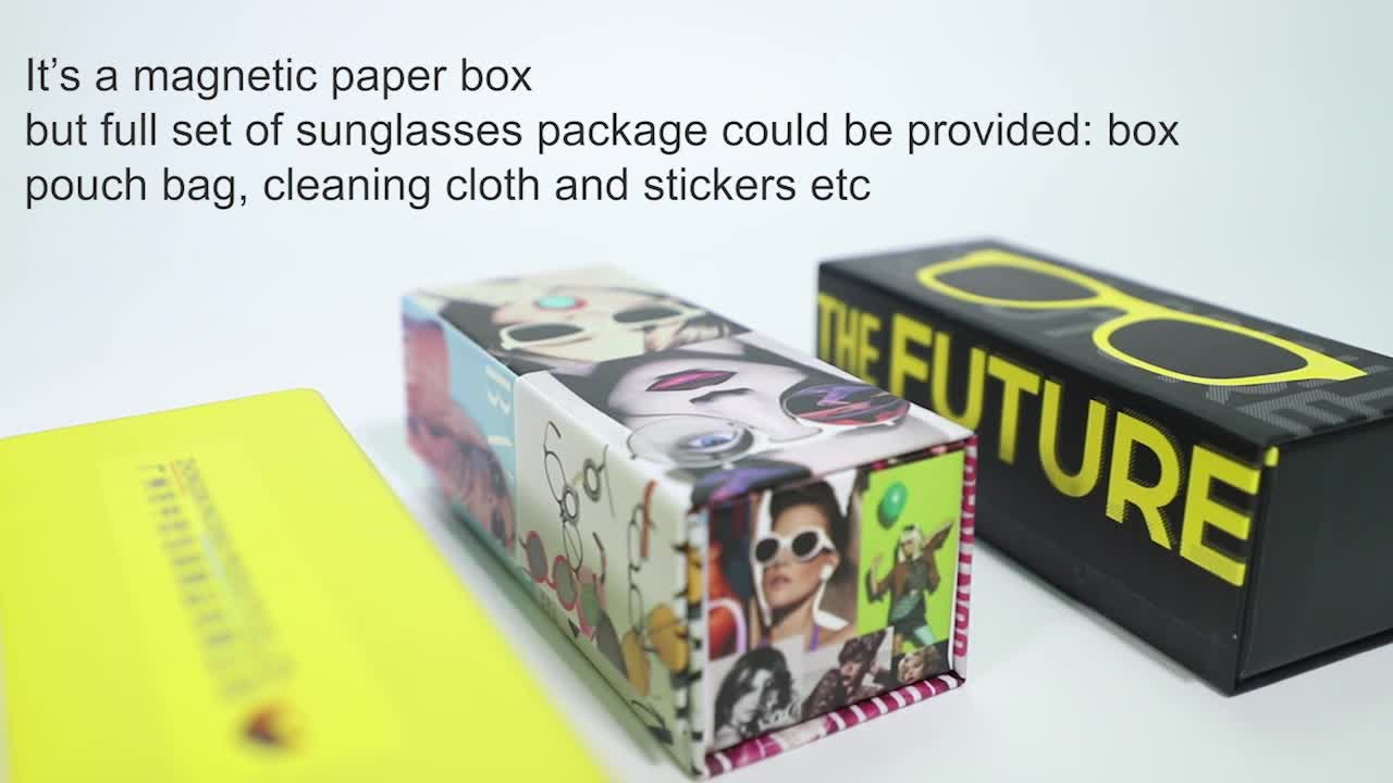 OEM wholesale square sunglasses black paper packaging boxes luxury white recyclable gift tie box