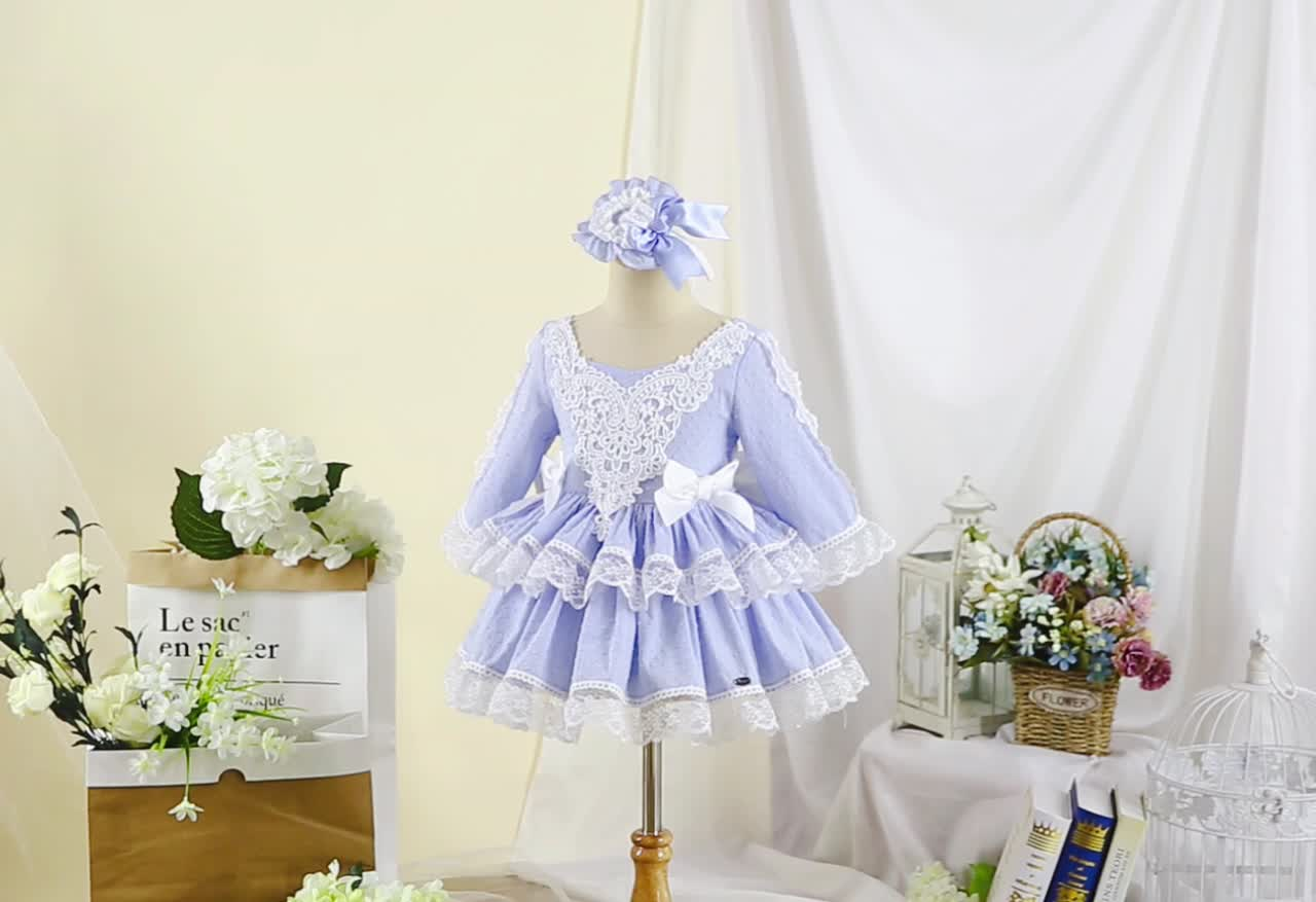 2020 Fashion Design Pettigirl Girls Wedding Dress with Lace Hairbands Cute Teenager Dresses for 10 Years Blue Kids Clothing Sets