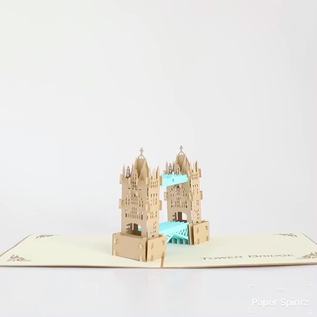 خمر برج جسر 3d المنبثقة شكرا لك بطاقة معايدة