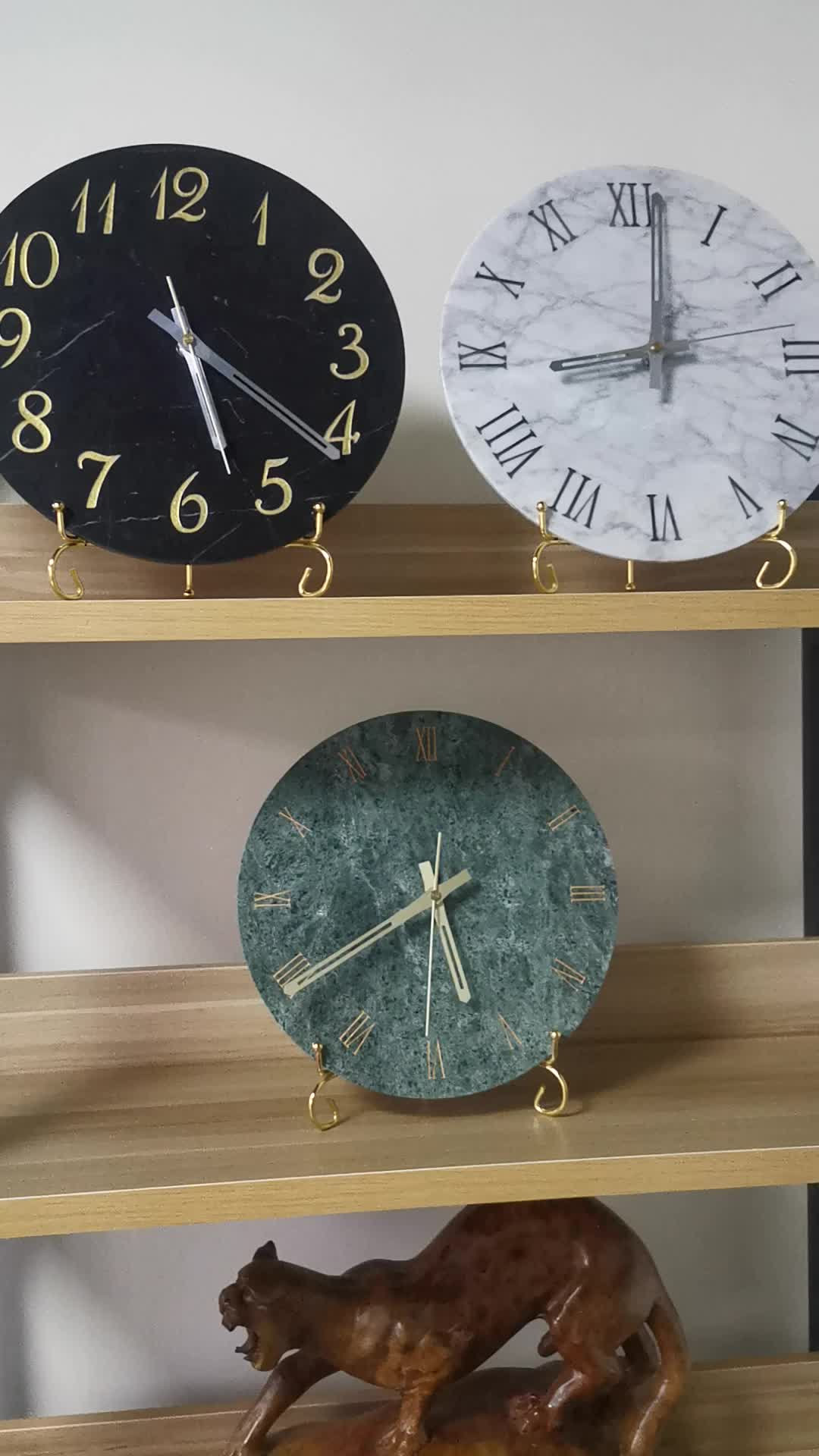 Customized Elegance Clock Home Decoration Design Stone Marble Clock Glasses Wall Clock Home Decoration Designs for Modern indoor