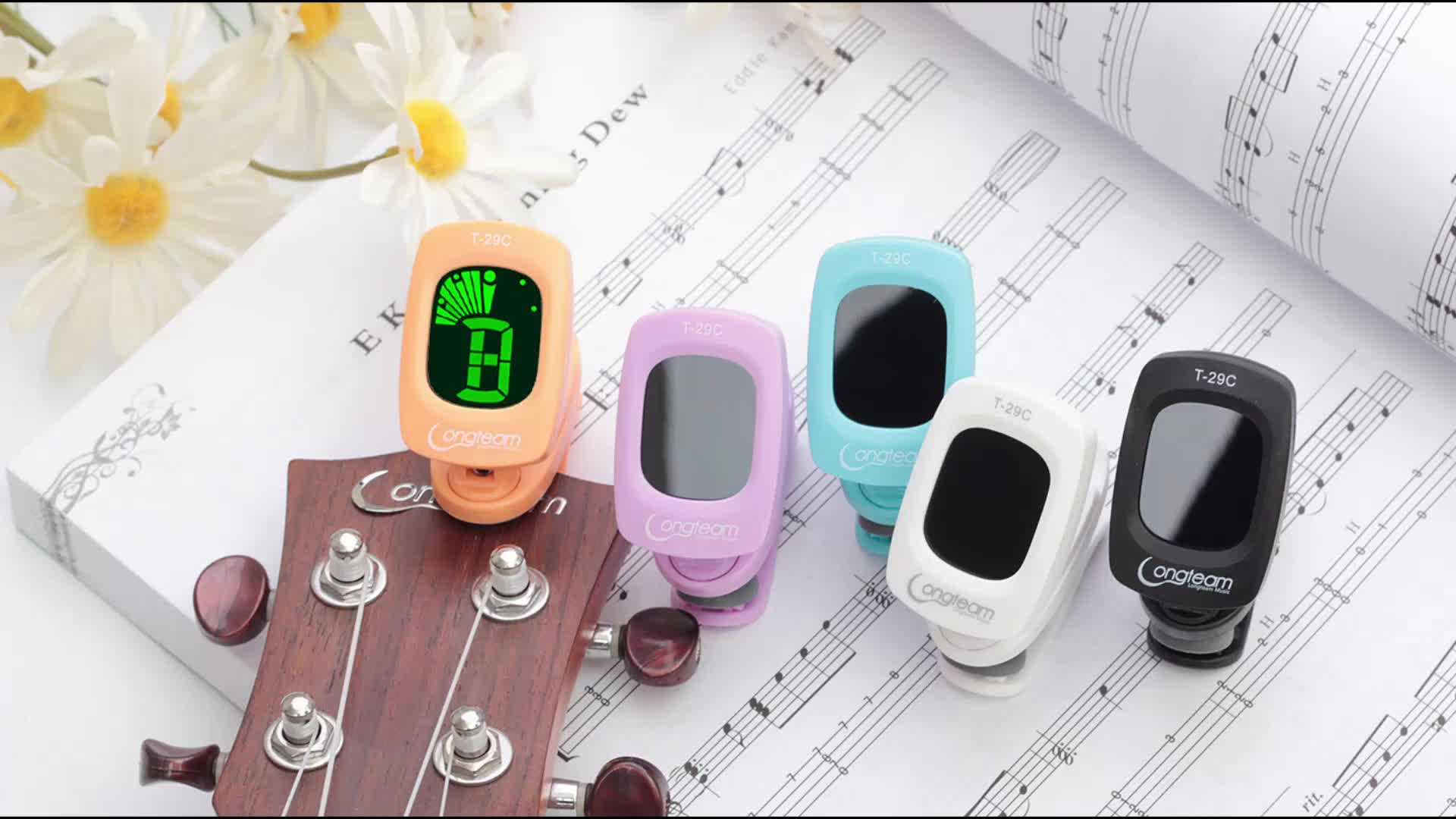 क्लिप-गिटार गिटार और बास ट्यूनर पर, क्लासिक और ध्वनिक गिटार ट्यूनर, वायलिन सामान
