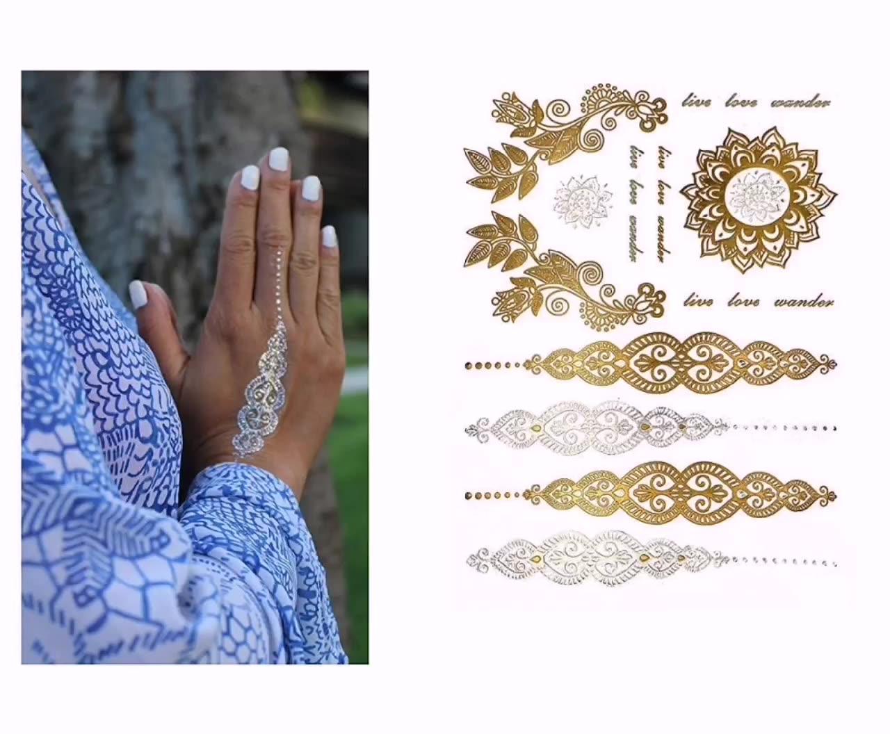 OEM Metallic Tatuaggi Temporanei per Le Donne Ragazzi Ragazze + Colore Impermeabile Mandala Oro Tatuaggi