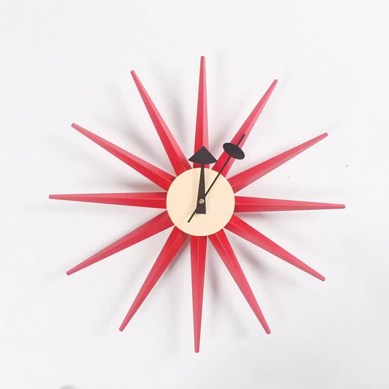 Factory direct Wooden Multi Color Sunburst wall clock Manufacturers of professional designers clock wholesale wall clocks