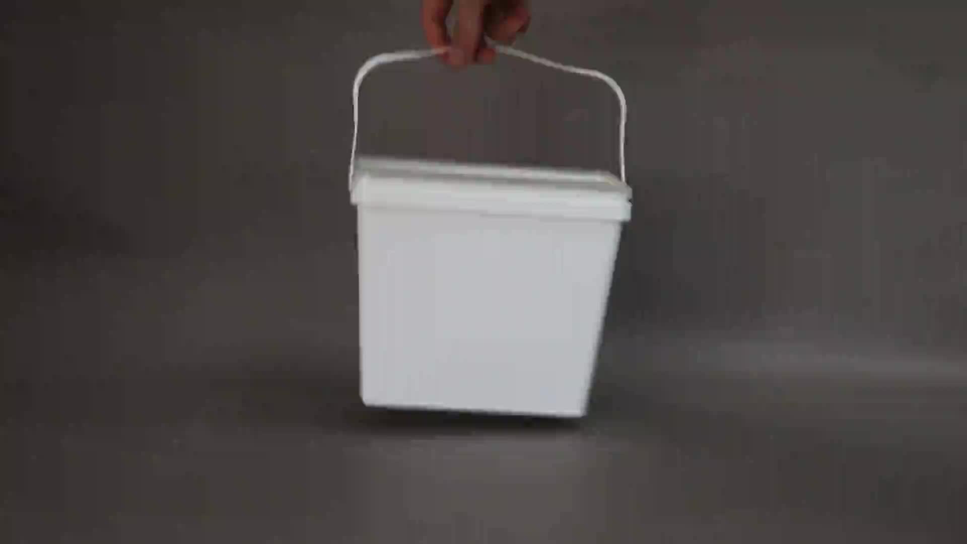 Beyaz 4 litre kare plastik tutkal yağı kova kapaklı, boya plastik kova